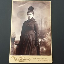 ca 1890 Antique Cabinet Card Photo of Woman w/ Vintage Black Dress Feath... - $14.21
