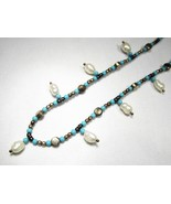 Estate Sterling Silver Thailand Pearl Turquoise Anklet Ankle Bracelet C2160 - $27.96