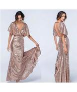 Shiny Rose Gold Sequined Mermaid Prom Dress Backless Women Party Gowns C... - $93.00