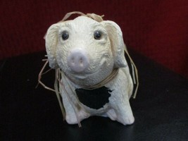 "Enesco Black Spotted Pig by Kathy Wise 1992 Raffia Decorated 3-1/2"" - $12.86"
