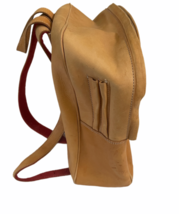 """Vintage BREE Bag Tan Leather Backpack Bag Day Pack 14.5"""" H x 12"""" W x 6"""" Poland image 8"""