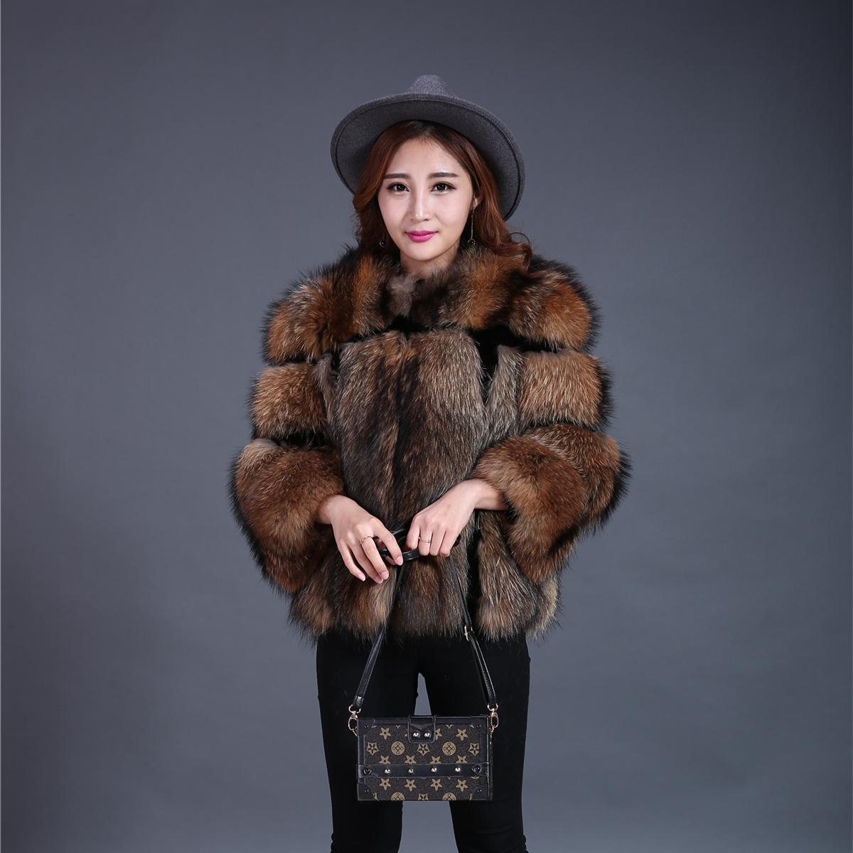 Dark Brown Raccoon Fur Jackets for Women Fluffy Rex Rabbit Fur Blazer for sale  USA