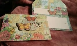 Punch Studio gold embossed dimensional  Card-butterflies  - WOW envelope... - $3.15