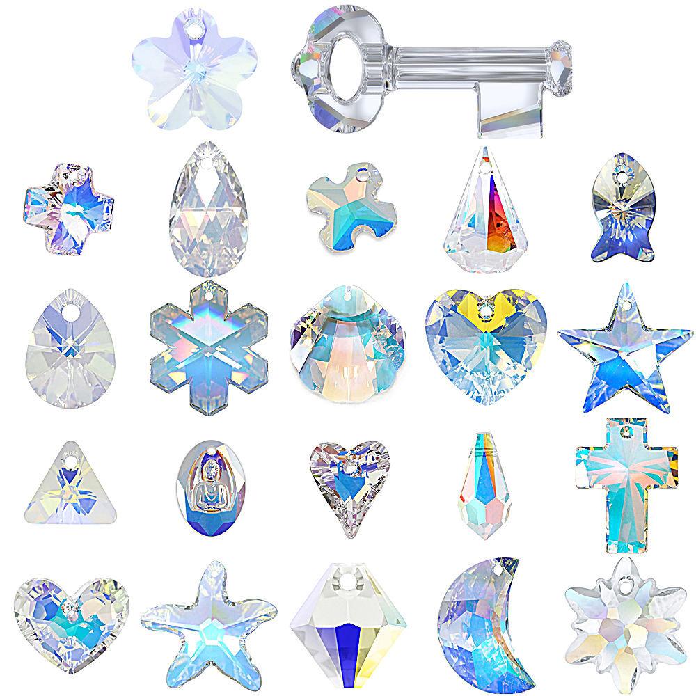 "Swarovski Pendants jewelry necklace making CRYSTAL AB (001 AB) ""Pick Your Shape"""