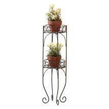 Indoor Plant Stand, Metal Verdigris 2 Tier Plant Stand Outside Multiple ... - $31.83