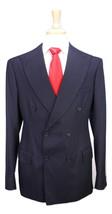* CHRIS KERR * Bespoke Savile Row Navy Striped 2-Btn DB Handmade Wool Su... - $556.50