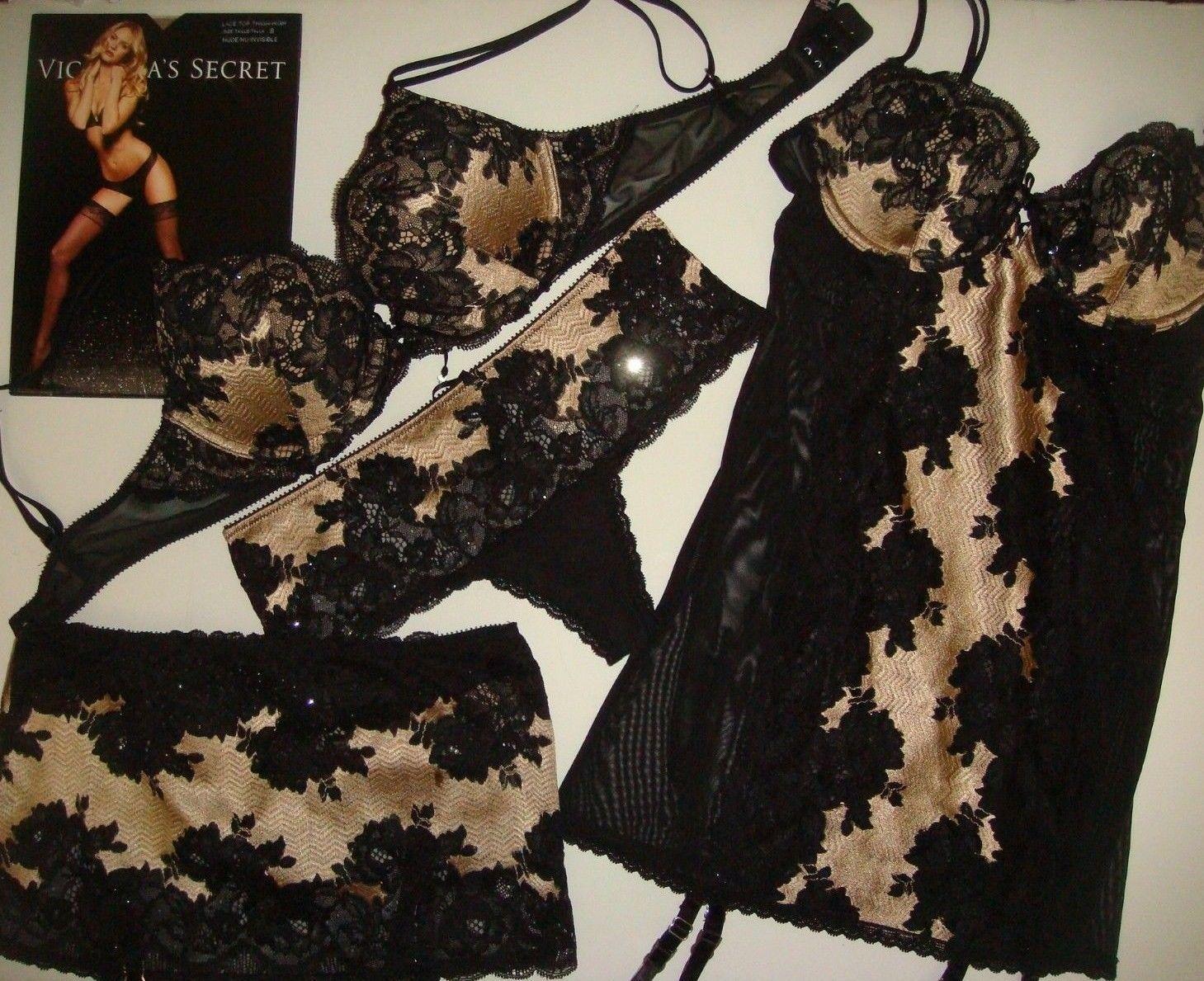 07a0d4d7cd S l1600. S l1600. Previous. NWT Victoria s Secret 34B BRA SET+GARTER SLIP  Sexy Seduction Black ...