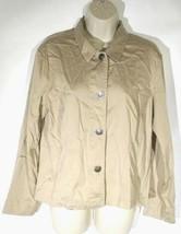 Chicos Women's Blouse Top Size 1 Medium Tan Button Front Shirt Long Sleeve - $19.80