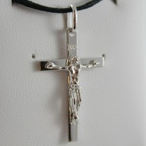18K WHITE GOLD CROSS WITH JESUS, SMOOTH, FINELY SQUARED ENGRAVABLE MADE IN ITALY image 1