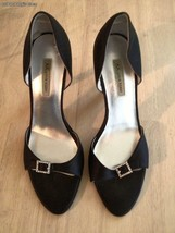Anne Klein Women's Shoes Black Shoes Satin With Sparkle Buckle Heels Size 8 - $38.61