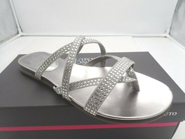 Vince Camuto Women's EVESIE Embellished Flat Sandal, Cloudy Grey, 8.5 M - $28.50