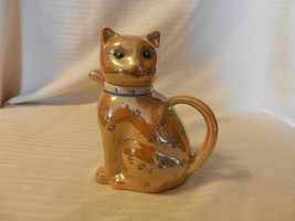 Vintage Ceramic Cat Creamer with Handle Light Brown with Blue Flowers - $37.13