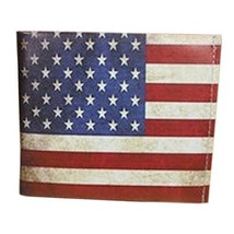 Fashion Classic US Flag Men/Women Wallet/Purse Short PU Leather Wallet(4.33.80.5
