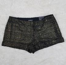 NWT EXPRESS Womens Black Metallic Gold Bronze Woven Wool Career Shorts Sz 6 - $16.18