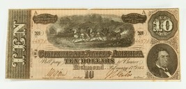 1864 $10 Confederate Note in XF Condition T-68 - $44.55