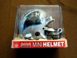 KEVIN GREENE CHRIS WEINKE PANTHERS HOF SIGNED AUTO RIDDELL MINI HELMET T... - $247.49