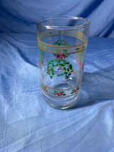 Vintage Libbey Holly Berries Piece Tumbler Glass Holiday Drinking Clear Glass - $11.99