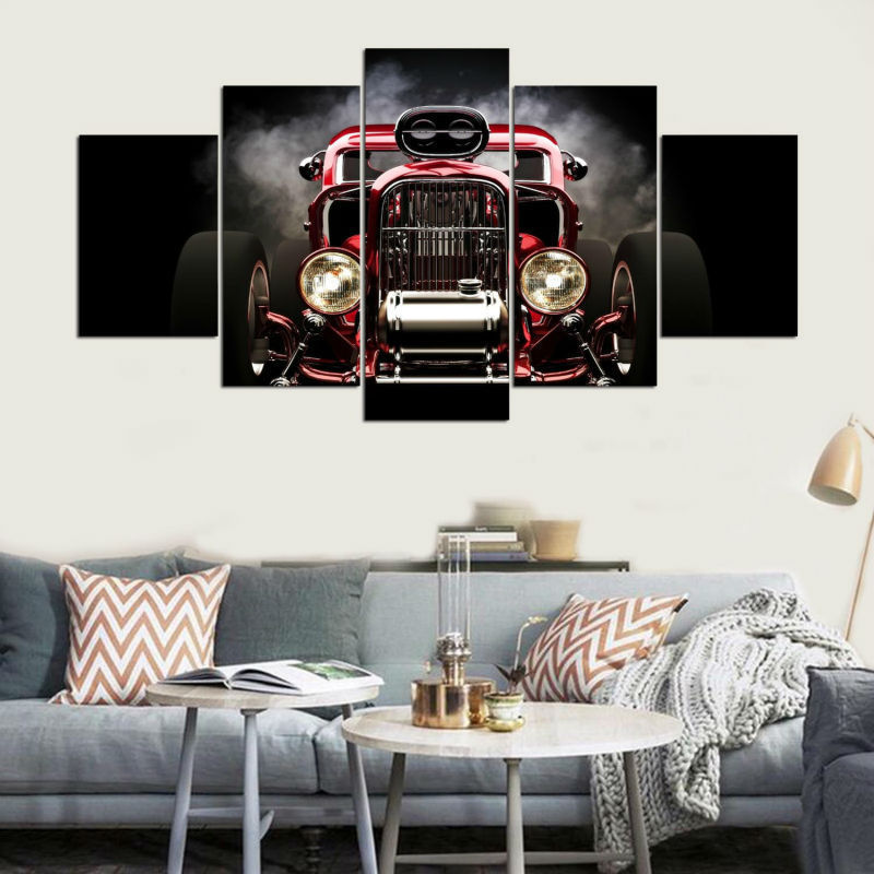 Five Piece Large Framed Hot Rod Red Muscle Car Canvas Print Wall Art Home