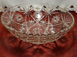 EARLY AMERICAN PRECUT EAPG STAR OF DAVID GLASS SERVING BOWL 10 3/4""