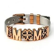 Stainless Steel Belt Mesh Bracelet Pink Charm Love Mom Letter Clover - $20.20