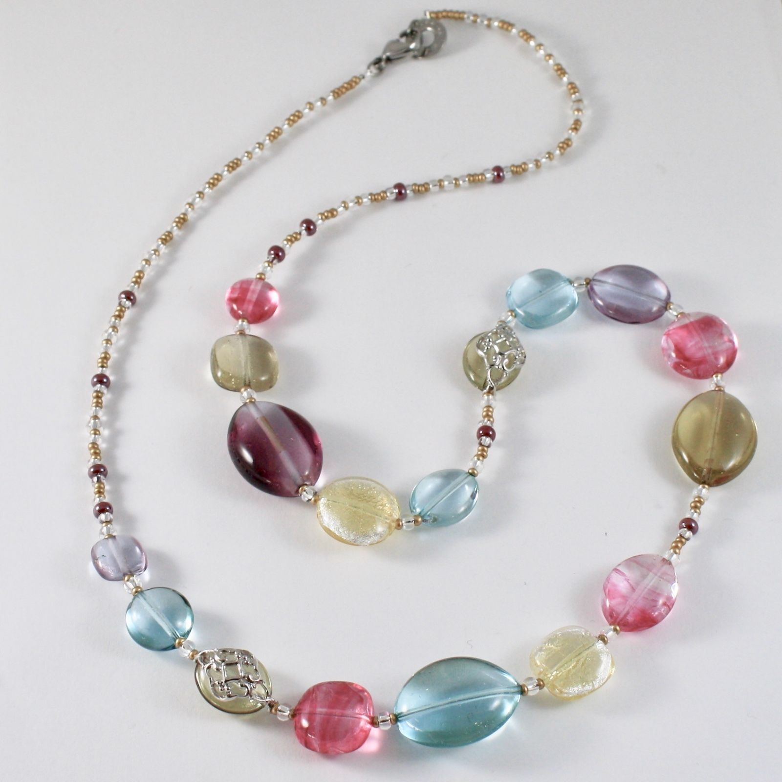 ANTICA MURRINA VENEZIA NECKLACE WITH PINK AND BLUE MURANO GLASS DISCS COA21A18