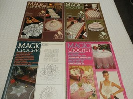 Lot of 4 Magic Crochet Magazines Patterns 1983 & 1984 Doiles Tablecoths ... - $7.18