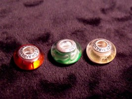 (3) VINTAGE PANDORA ALE STERLING GLASS BEAD BRACELET CHARMS - $29.70