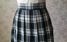 Black and White Plaid Skirt Mini Pleated Plaid Skirt Outfit A-line High Waisted image 8