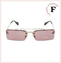 MIU MIU SOCIETE MU59TS Pale Gold Pink Square Rimless Special Sunglasses 59T image 3
