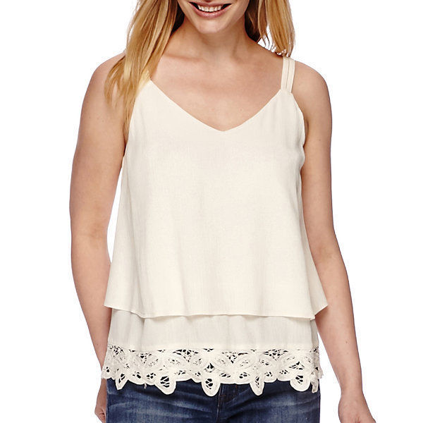 a.n.a Battenburg Bottom Tank Top Petite Size PL New Pristine Ivory Msrp $38.00