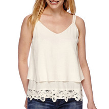 a.n.a Battenburg Bottom Tank Top Petite Size PL New Pristine Ivory Msrp ... - $16.99