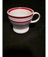 A Starbucks Coffee Mug Tea Cup 2007 White w/Blue & Red Stripes 12 oz - $12.99