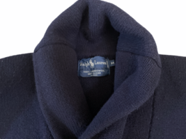 Vintage Women Navy Blue Ralph Lauren Wool Cardigan Sweater M Made in Hong Kong image 2