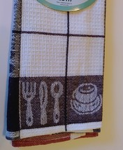 TEA TOWELS Set of 2 Red Purple Check Coffee Cup Utensils Cotton Kitchen NEW image 3