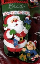 Bucilla Santa & Elf Christmas Eve Decorate  Bird Holiday Felt Stocking Kit 84945 - $79.95