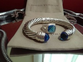 Set of authentic David Yurman w/ Blue Topaz Albion Ring 11mm  and 10mm b... - $1,016.35
