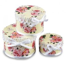 Dollhouse Hat Box Set 1.758/8 Reutter Roses on Pink Cream Miniature - $14.10