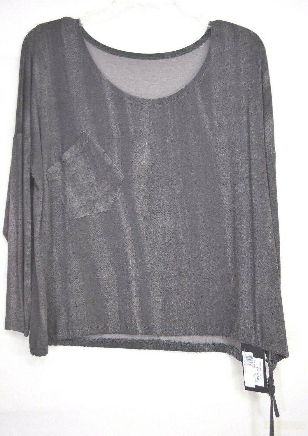 Matti Mamane top SZ M NWT dark gray drawstring waist scoop neck 3/4 sleeve new
