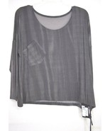 Matti Mamane top SZ M NWT dark gray drawstring waist scoop neck 3/4 slee... - $49.49
