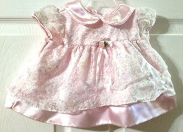 Rose Cottage Baby Girl Pink Shimmery Easter Dress Sheer Lace Size 3-6 Mo... - $18.81