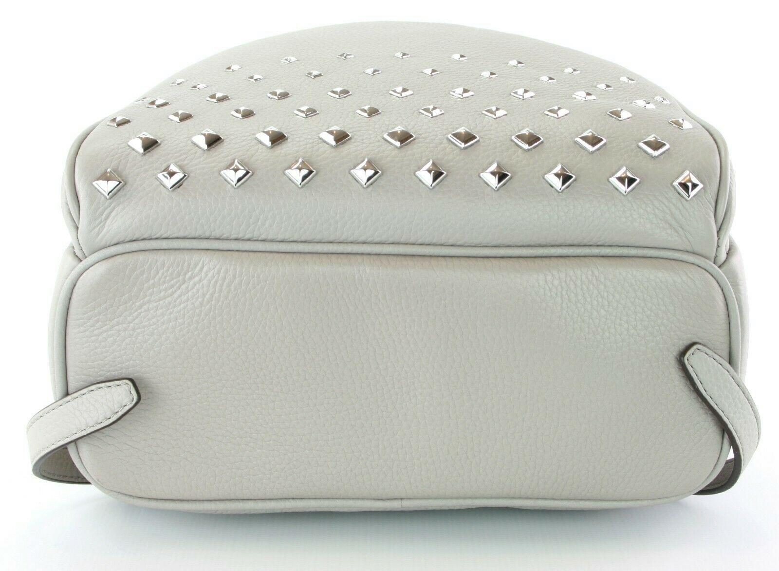 Michael Kors Abbey Medium Backpack Bag Pearl Grey Studded Leather