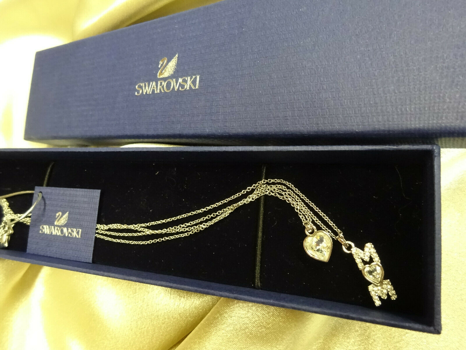 Authentic SWAROVSKI 2 Strand Silver Crystal Necklace Heart Mom Swan Signed w BOX