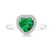 Emerald Heart Cut Halo Women's Ring For Christmas Day Gift 14K White Gol... - $32.99