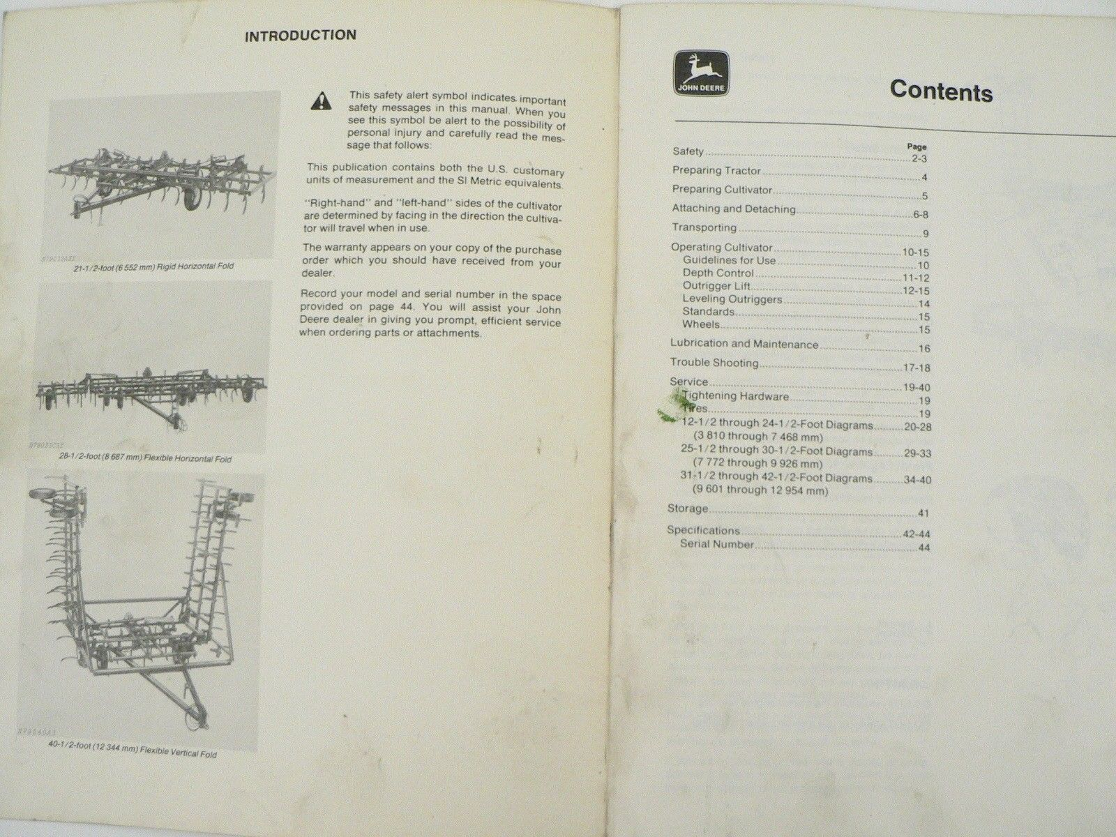 ... John Deere Owners Manual 1010 Series Drawn Field Cultivators Trouble  Shooting