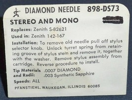 NEEDLE STYLUS for Zenith 142-167 cartridge 898-DS73 Zenith S82621 with spring image 2