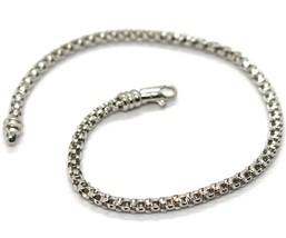 Bracelet or Blanc 18K 750, Jersey Panier, 3 mm, Longueur 19 CM - $505.56