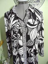 ALFANI Shirt Dress L Black White Leaf print Stretch knit collared Tunic length - $26.72