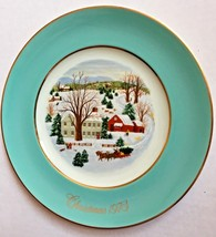 Avon Plate 1973 Christmas On The Farm Turquoise Border Gold Trim Enoch W... - $15.79
