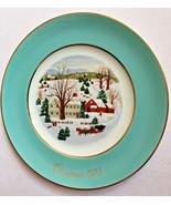 Avon Plate 1973 Christmas On The Farm Turquoise Border Gold Trim Enoch W... - $15.79