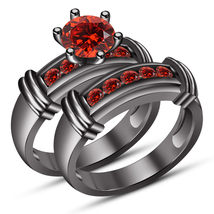 Round Cut Red Garnet Black Gold Plated 925 Pure Silver Bridal Wedding Ring Set - $97.89